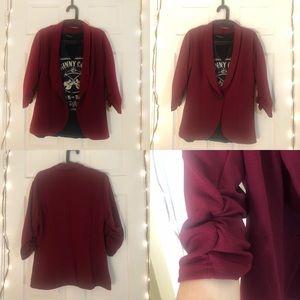 Jackets & Blazers - Burgundy women's stretch blazer
